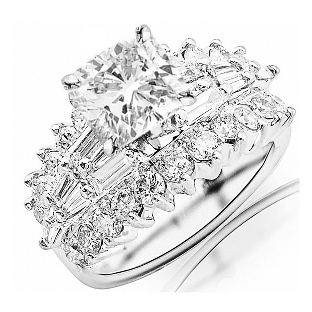 GIA Certified 3 05 Carat Cushion Cut Baguette Diamond Engagement Ring Ada F V