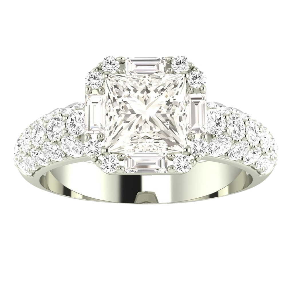 GIA Certified 1.8 Carat Princess Cut Halo Diamond ...